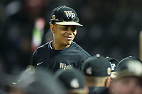 Christian Long (19) of the Wake Forest Demon Deacons during the game against the Kent State Golden Flashes in game two of a double-header at David F. Couch Ballpark on March 4, 2017 in Winston-Salem, North Carolina.  The Demon Deacons defeated the Golden Flashes 5-0.  (Brian Westerholt/Four Seam Images)