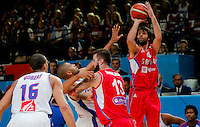 Serbia's Milos Teodosic shoots during European championship basketball match for third place between France and Serbia on September 20, 2015 in Lille, France  (credit image & photo: Pedja Milosavljevic / STARSPORT)