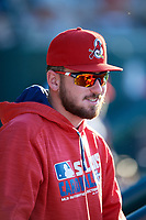 Springfield Cardinals pitcher Austin Gomber (31) in the dugout during a game against the Corpus Christi Hooks on May 30, 2017 at Hammons Field in Springfield, Missouri.  Springfield defeated Corpus Christi 4-3.  (Mike Janes/Four Seam Images)