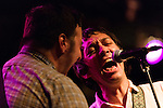July 24, 2014. Carrboro, North Carolina.<br /> Benny Troken of Reigning Sound took background vocal duty on Thursday night<br />  Day two of the MERGE 25 festival, celebrating the 25 year history of the independent record label.