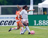 St Louis Athletica forward Enoila Aluko (9) passes as Sky Blue FC defender/midfielder Julianne Sitch (38) pressures during a WPS match at Anheuser-Busch Soccer Park, in St. Louis, MO, June 7, 2009. Athletica won the match 1-0.