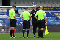 Glyn Hodges manager of AFC Wimbledon talks to the officials after the match during AFC Wimbledon vs Accrington Stanley, Sky Bet EFL League 1 Football at The Kiyan Prince Foundation Stadium on 3rd October 2020