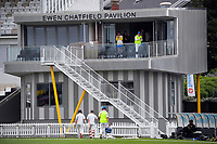 Otago's Hamish Rutherford and Dale Phillips walk in for lunch during day three of the Plunket Shield match between the Wellington Firebirds and Otago Volts at Basin Reserve in Wellington, New Zealand on Saturday, 7 November 2020. Photo: Dave Lintott / lintottphoto.co.nz