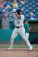 Everson Pereira (25) of the Hudson Valley Renegades at bat against the Greensboro Grasshoppers at First National Bank Field on September 2, 2021 in Greensboro, North Carolina. (Brian Westerholt/Four Seam Images)
