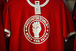 """© Joel Goodman - 07973 332324 . 18/05/2016 . Accrington , UK . Accrington Stanley """" Keep the faith """" shirts in the club shop . Accrington Stanley take on AFC Wimbledon at the Wham Stadium , in the 2nd leg of their League Two tie , the result from which will decide which team goes on to the final at Wembley . Photo credit : Joel Goodman"""