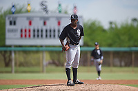 Chicago White Sox pitcher Andre Wheeler (47) looks to his catcher for the sign during an Instructional League game against the San Diego Padres on September 26, 2017 at Camelback Ranch in Glendale, Arizona. (Zachary Lucy/Four Seam Images)
