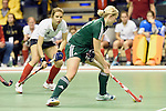 Berlin, Germany, February 01: Mirja Zoeller #27 of HTC Uhlenhorst Muehlheim looks to pass during the 1. Bundesliga Damen Hallensaison 2014/15 final hockey match between Duesseldorfer HC (white) and HTC Uhlenhorst Muehlheim (green) on February 1, 2015 at the Final Four tournament at Max-Schmeling-Halle in Berlin, Germany. Final score 4-1 (1-0). (Photo by Dirk Markgraf / www.265-images.com) *** Local caption ***