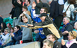 Hibs v St Johnstone.....30.04.11.St Johnstone fans show their delight as Kevin Moon scores a late winner.Picture by Graeme Hart..Copyright Perthshire Picture Agency.Tel: 01738 623350  Mobile: 07990 594431