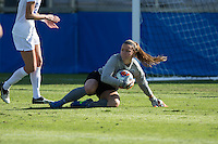 Cary, North Carolina - Sunday December 6, 2015: EJ Proctor (30) of the Duke Blue Devils makes a save during second half action against the Penn State Nittany Lions at the 2015 NCAA Women's College Cup at WakeMed Soccer Park.  The Nittany Lions defeated the Blue Devils 1-0.