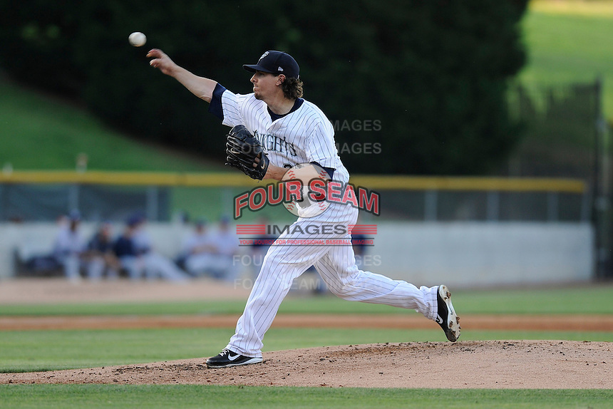 Starting pitcher Zach Stewart (21) of the Charlotte Knights in a game against the Columbus Clippers on Saturday, June 15, 2013, at Knights Stadium in Fort Mill, South Carolina. Columbus won, 4-2. (Tom Priddy/Four Seam Images)
