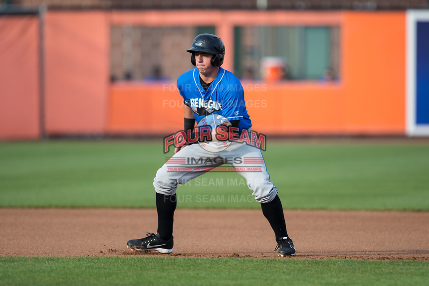 Brendan McKay (38) of the Hudson Valley Renegades takes his lead off of second base against the Aberdeen IronBirds at Leidos Field at Ripken Stadium on July 27, 2017 in Aberdeen, Maryland.  The Renegades defeated the IronBirds 2-0 in game one of a double-header.  (Brian Westerholt/Four Seam Images)