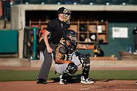 Down East Wood Ducks catcher Randy Florentino (23) sets a target as home plate umpire Matt Blackborow looks on during the game against the Charleston RiverDogs at Joseph P. Riley, Jr. Park on September 26, 2021 in Charleston, South Carolina. (Brian Westerholt/Four Seam Images)