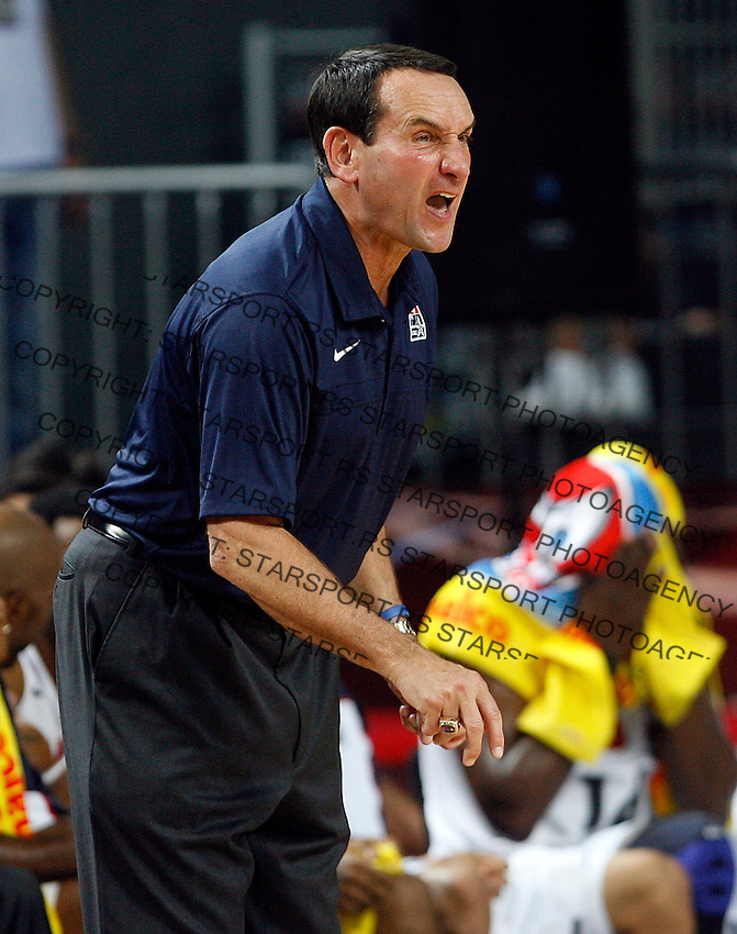 Mike KRZYZEWSKI (USA) head coach, reacts  during the semi-final World championship basketball match against Lithuania in Istanbul, USA-Lithuania, Turkey on Saturday, Sep. 11, 2010. (Novak Djurovic/Starsportphoto.com)