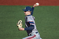 Florida Atlantic Owls relief pitcher Thomas Haggerty (49) in action against the Charlotte 49ers at Hayes Stadium on April 2, 2021 in Charlotte, North Carolina. The 49ers defeated the Owls 9-5. (Brian Westerholt/Four Seam Images)