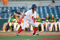 Florida Fire Frogs center fielder Ray-Patrick Didder (11) leads off first base during a game against the Daytona Tortugas on April 6, 2017 at Osceola County Stadium in Kissimmee, Florida.  Daytona defeated Florida 3-1.  (Mike Janes/Four Seam Images)
