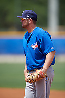 Toronto Blue Jays first baseman David Jacob (33) during a minor league Spring Training game against the New York Yankees on March 30, 2017 at the Englebert Complex in Dunedin, Florida.  (Mike Janes/Four Seam Images)