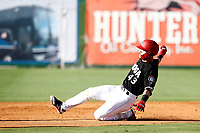 Zander Wiel (43) of the Chattanooga Lookouts slides safely into second base in a game against the Mobile BayBears on June 3, 2018 at AT&T Field in Chattanooga, Tennessee. (Andy Mitchell/Four Seam Images)