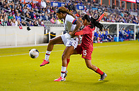 HOUSTON, TX - JANUARY 31: Jessica McDonald #14 of the United States attempts to move past Ana Rodriguez #15 of Panama in the corner during a game between Panama and USWNT at BBVA Stadium on January 31, 2020 in Houston, Texas.