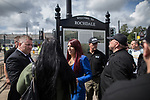 © Joel Goodman - 07973 332324 . 22/07/2017 . Rochdale , UK . PAUL GOLDING and JAYDA FRANSEN . Britain First hold a demonstration in Rochdale , opposed by anti-fascist groups . Britain First say they are highlighting concerns about child sexual exploitation in the town . Photo credit : Joel Goodman