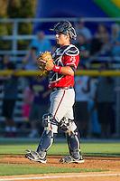 Danville Braves catcher Tanner Murphy (15) on defense against the Burlington Royals at Burlington Athletic Park on July 5, 2014 in Burlington, North Carolina.  The Royals defeated the Braves 5-4.  (Brian Westerholt/Four Seam Images)