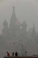 Moscow, Russia, 06/08/2010. .Saint Basil's Cathedral and Red Square shrouded in the intense smog that has permeated every part of he city in the record high temperatures of the continuing heatwave. Peat and forest fires in the countryside surrounding Moscow have resulted in the Russian capital being blanketed in heavy smog.