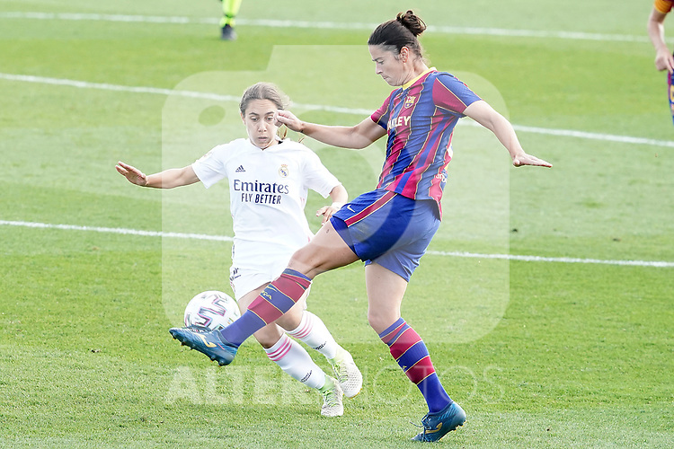 First official match and first classic in the history of women's Real Madrid.<br /> Real Madrid's Lorena Navarro (l) and FC Barcelona's Marta Torrejon during Spanish Female League match. October 4,2020. (ALTERPHOTOS/Acero)