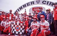 HAMPTON, GA - NOV 3: Bill Elliott's Coors team celebrates in victory lane after winning the Atlanta Journal 500 NASCAR Winston Cup race at Atlanta Motor Speedway, November 3, 1985. (Photo by Brian Cleary/www.bcpix.com)