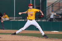 Aaron Digiamarino #30 of the USC Trojans pitches against the Northwestern Wildcats at Dedeaux Field on  February 16, 2014 in Los Angeles, California. USC defeated Northwestern, 13-6. (Larry Goren/Four Seam Images)