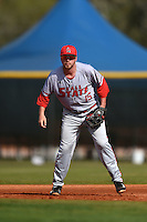 Ball State Cardinals first baseman Brandon Estep (15) during a game against the Dartmouth Big Green on March 7, 2015 at North Charlotte Regional Park in Port Charlotte, Florida.  Ball State defeated Dartmouth 7-4.  (Mike Janes/Four Seam Images)