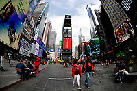 NEW YORK - NEW YORK - MARCH 25: People visit Broadway ST in Times Square on March 25, 2021 in New York. New York's Mayor Bill de Blasio says that the city plans to create a Coronavirus vaccination site on Broadway  reserved for theater  workers in a reopening effort. (Photo by Emaz/VIEWpress)