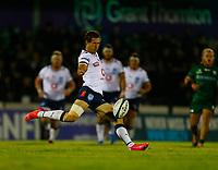 1st October 2021;  The Sportsground, Galway, Ireland; United Rugby Championships, Connacht versus Bulls; Bulls fly-half Johan Goosen kicks for touch