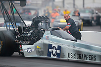 Aug 31, 2019; Clermont, IN, USA; Crew member for NHRA top fuel driver Mike Salinas during qualifying for the US Nationals at Lucas Oil Raceway. Mandatory Credit: Mark J. Rebilas-USA TODAY Sports