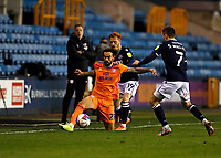 21st November 2020; The Den, Bermondsey, London, England; English Championship Football, Millwall Football Club versus Cardiff City; Marlon Pack of Cardiff City being challenged by Ryan Woods of Millwall