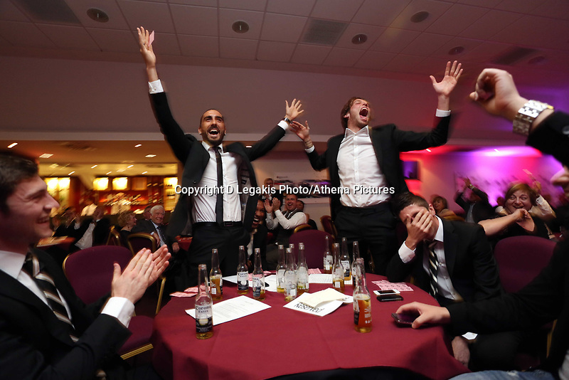 Pictured: Wednesday 10 April 2013<br /> Re: Swansea footballer Angel Rangel and wife Nicky's cancer charity fundraising dinner at the Liberty Stadium.<br /> Chico Flores<br /> Pablo Hernandez<br /> Michu