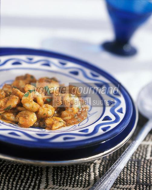 """Afrique/Maghreb/Maroc/Essaouira : Crevettes pil-pil - Recette de Latifa Akroum cuisinière de la villa """"Dar Adul"""""""
