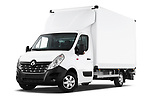 Stock pictures of low aggressive front three quarter view of a 2019 Renault Master Base 4 Door Cargo Van