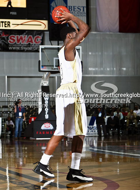 Alabama State Hornets forward Shareif Adamu (3) in action during the SWAC Championship game between the Alabama State Hornets and the Grambling State Tigers at the Special Events Center in Garland, Texas. Alabama State defeats Grambling State 65 to 48.