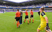 referee Viki De Cremer pictured taking the ball from the Ball Holder during a female soccer game between RSC Anderlecht Dames and Sporting Charleroi  on the second matchday of the 2021 - 2022 season of Belgian Womens Super League , saturday 28 th of August 2021  in Brussels , Belgium . PHOTO SPORTPIX   DAVID CATRY