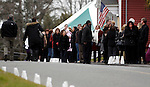 Woodbury, CT-20 December 2012-122012CM05-  Mourners gather outside a wake to pay their respects for Sandy Hook Elementary School behavioral therapist Rachel D'Avino, at Munson-Lovetere Funeral Home Thursday afternoon in Woodbury.   Christopher Massa Republican-American