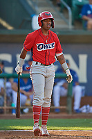 Jose Verrier (12) of the Orem Owlz at bat against the Ogden Raptors at Lindquist Field on September 3, 2019 in Ogden, Utah. The Raptors defeated the Owlz 12-0. (Stephen Smith/Four Seam Images)
