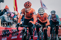 Ceylin Del Carmen Alvarado (NED) following race leader Inge van der Heijden (NED) closely <br /> <br /> Women's U23 race<br /> <br /> UCI 2019 Cyclocross World Championships<br /> Bogense / Denmark<br /> <br /> ©kramon