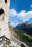 Italy, South Tyrol, Alto Adige, Val Gardena, Dolomites, Selva Gardena, castle ruin Selva Gardena at Vallunga Valley| Italien, Suedtirol, Dolomiten, Groednertal, Wolkenstein, Schlossruine Wolkenstein im Langental
