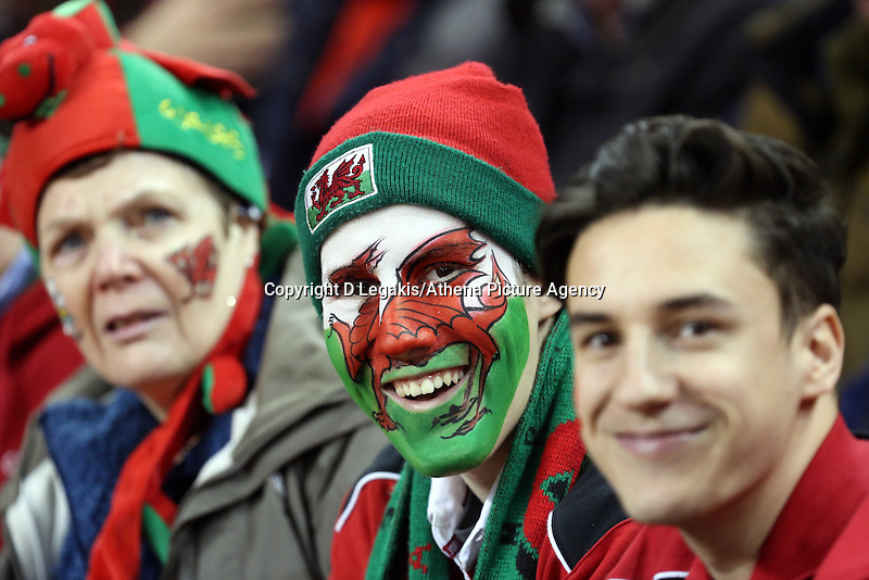 Pictured: Wales supporters. Saturday 29 November 2014<br /> Re: Dove Men Series 2014 rugby, Wales v South Africa at the Millennium Stadium, Cardiff, south Wales, UK.