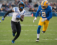 Duke wide receiver TJ Rahming eludes Pitt defender Terrish Webb (2). The Pitt Panther defeated the Duke Blue Devils 56-14 at Heinz Field in Pittsburgh, Pennsylvania on November 19, 2016.