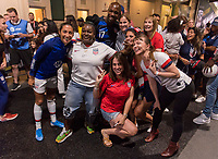 PASADENA, CA - AUGUST 4: Christen Press #23, Jill Ellis, Cecily Strong and friends pose during a game between Ireland and USWNT at Rose Bowl on August 3, 2019 in Pasadena, California.