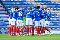 Portsmouth players form a huddle prior to kick off during Portsmouth vs Doncaster Rovers, Sky Bet EFL League 1 Football at Fratton Park on 17th October 2020