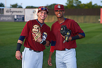 Mahoning Valley Scrappers Alexis Pantoja (6) and Willi Castro (2) before a game against the Auburn Doubledays on September 4, 2015 at Falcon Park in Auburn, New York.  Auburn defeated Mahoning Valley 5-1.  (Mike Janes/Four Seam Images)