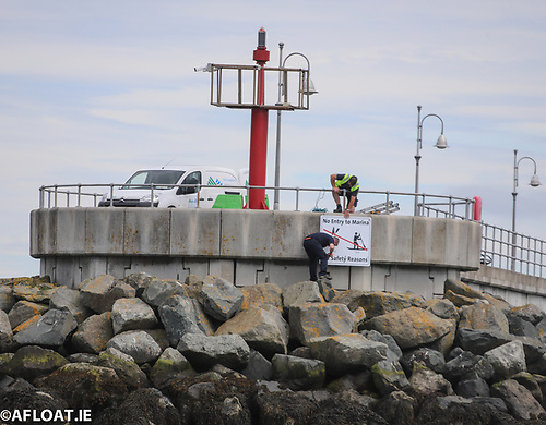 DLR Council erecting new signs at the town's marina breakwaters (above) advising paddleboarders there is no entry into the marina for safety reasons.