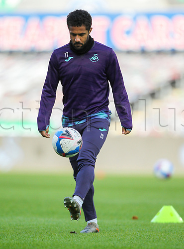 31st October 2020; Liberty Stadium, Swansea, Glamorgan, Wales; English Football League Championship Football, Swansea City versus Blackburn Rovers; Wayne Routledge of Swansea City during the warm up