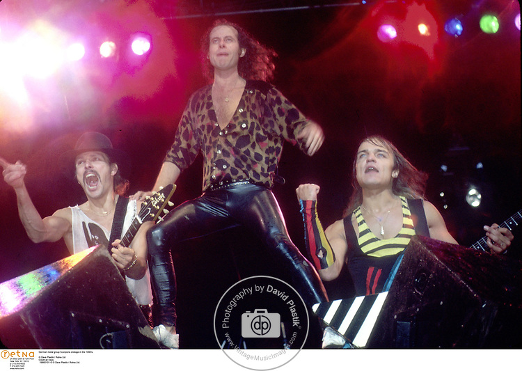 German metal group Scorpions onstage in the 1990's.<br /><br />© Dave Plastik / Retna Ltd<br />Credit all Uses